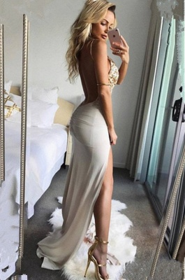 Sexy V-Neck Sleeveless Long Prom Dresses | 2020 Lace Slit Evening Gowns_2