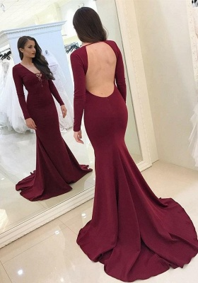 2020 Beautiful Burgundy V-Neck Long Sleeves Mermaid Prom Gown | Classical Backless Long Evening Dress On Sale_2