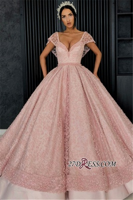 Luxury Pink Ball Gown Prom Dresses | V-Neck Cap Sleeves Beading Evening Dresses_4
