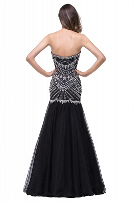 Glamorous Crystals Black Mermaid 2020 Prom Dress Sweetheart Sleeveless Zipper_5