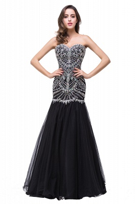 Glamorous Crystals Black Mermaid 2020 Prom Dress Sweetheart Sleeveless Zipper_1
