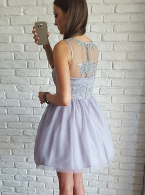 Delicate Straps Lace Appliques Short Homecoming Dress | Mini Party Dress_3