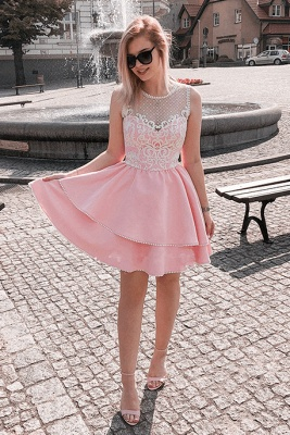 Fashion Lace Pink Beads Ruffled Homecoming Dress | 2020 Short Formal Gown_4