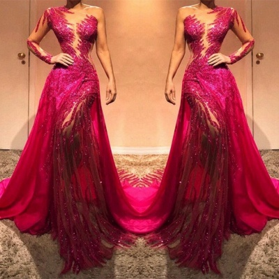Glamorous Long Sleeve Sequins Prom Dresses | 2020 Long Sleeve Fuchsia Evening Gowns_2