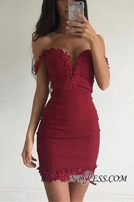 Burgundy Short Sexy Sheath Appliques Off-the-shoulder Homecoming Dress BA3581_2