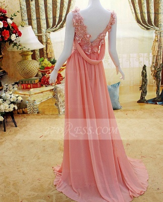 Flower Prom Dresses Evening Gowns with Pink Pearls Appliques Chiffon Lace Sleeveless Sweep Train A-line_3