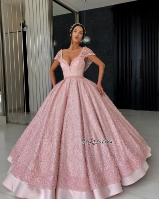 Luxury Pink Ball Gown Prom Dresses | V-Neck Cap Sleeves Beading Evening Dresses_1