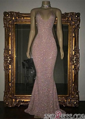 Mermaid Stunning Spaghetti-strap Sequined Sleeveless Long Prom Dress SP0311_2