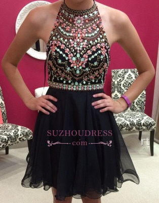 Short Newest Sleeveless Colorful-Crystals Halter Homecoming Dress_1