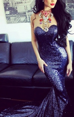 Sexy Sweetheart Sleeveless Mermaid Prom Dress With Sequins_1