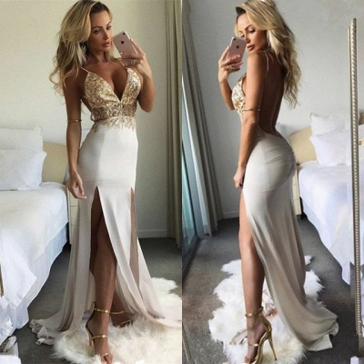 Sexy V-Neck Sleeveless Long Prom Dresses | 2020 Lace Slit Evening Gowns_3