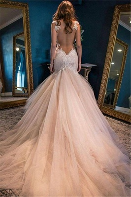 Glamorous Sleeveless Lace Appliques 2020 Wedding Dress Mermaid Tulle WE0166_3