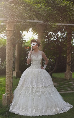 Elegant Tulle Lace Appliques Illusion Wedding Dress 2020 Ball Gown Zipper_1