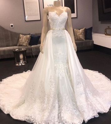 Chic Sweetheart Mermaid Wedding Dresses | 2020 Long Lace Detachable Bridal Gowns_2