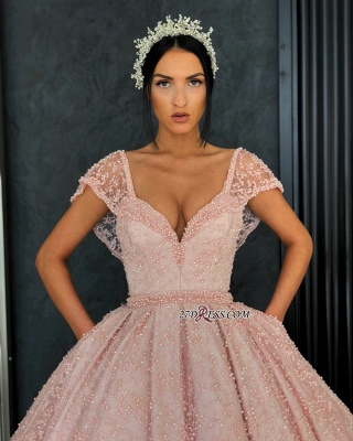 Luxury Pink Ball Gown Prom Dresses | V-Neck Cap Sleeves Beading Evening Dresses_3