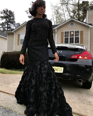 Black Long Sleeve Prom Dress | 2020 Backless Evening Dress With Flowers Bottom_3