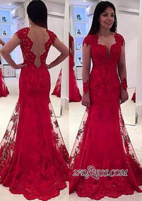 Lace A-line Sweep-Train Modern Long-Sleeve Red Prom Dress BA4006_2