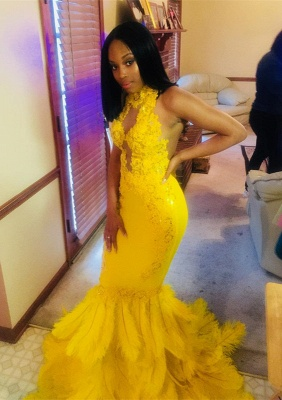 Gorgeous Yellow High-Neck Mermaid Prom Dress | 2020 Lace Sequins Evening Gowns With Feather BK0_1