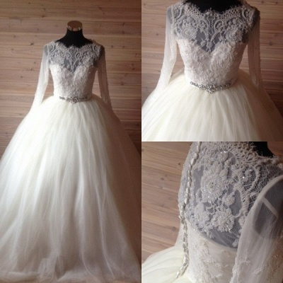Elegant Tulle Lace Crystals Wedding Dress 2020 Ball Gown Long Sleeve_4