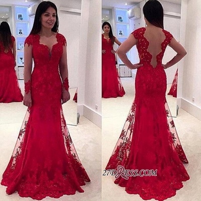 Lace A-line Sweep-Train Modern Long-Sleeve Red Prom Dress BA4006_1