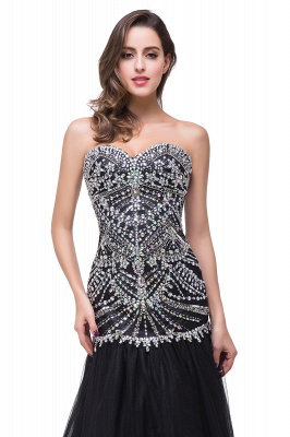 Glamorous Crystals Black Mermaid 2020 Prom Dress Sweetheart Sleeveless Zipper_3