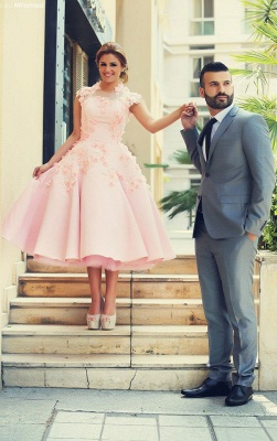 Lovely High Neck Cap Sleeve Prom Dress Pink With Flowers_3