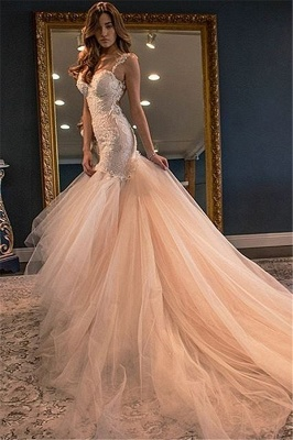 Glamorous Sleeveless Lace Appliques 2020 Wedding Dress Mermaid Tulle WE0166_1