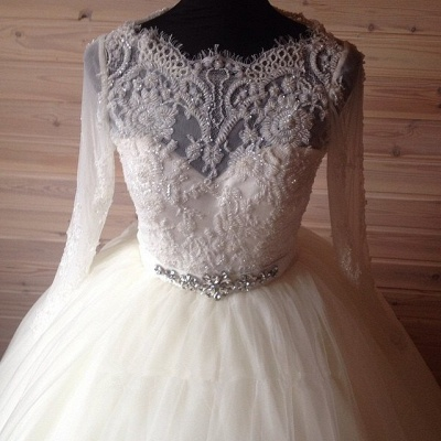 Elegant Tulle Lace Crystals Wedding Dress 2020 Ball Gown Long Sleeve_3