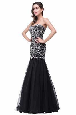 Glamorous Crystals Black Mermaid 2020 Prom Dress Sweetheart Sleeveless Zipper_6