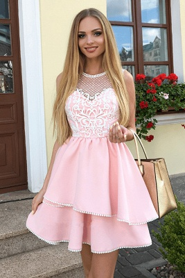Fashion Lace Pink Beads Ruffled Homecoming Dress | 2020 Short Formal Gown_3