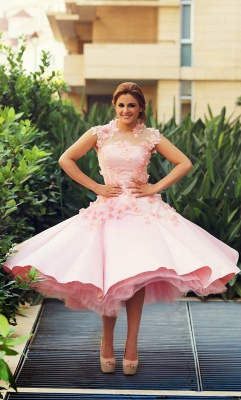 Lovely High Neck Cap Sleeve Prom Dress Pink With Flowers_2
