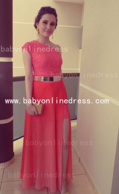 New Arrival Sexy Lace Long Vestidos Prom Dresses Chiffon One Shoulder Formal Evening Gowns_1