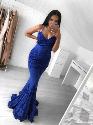 Elegant Dark Blue Spaghetti-Strap Prom Dress on Sale | Mermaid Evening Dress With Lace Appliques_1