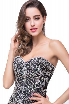Glamorous Crystals Black Mermaid 2020 Prom Dress Sweetheart Sleeveless Zipper_4