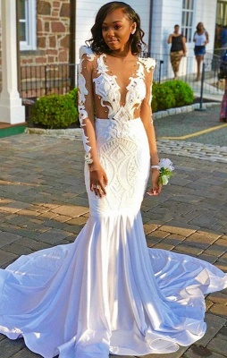 Stunning Crew Long Sleeves Mermaid Prom Dress | 2020 Lace Beading Evening Dress_1