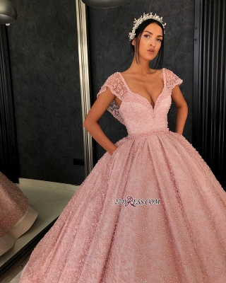Luxury Pink Ball Gown Prom Dresses | V-Neck Cap Sleeves Beading Evening Dresses_2