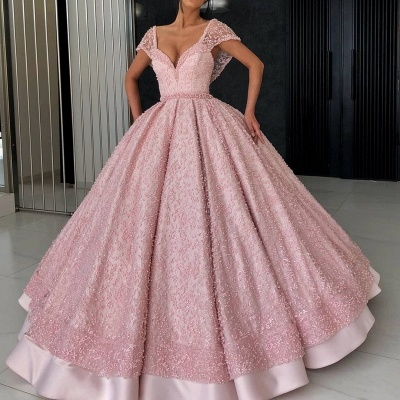 Glamorous Cap Sleeve Pink Evening Dress | 2020 Ball Gown Beadings Prom Gown_2