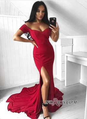 Red Off-the-Shoulder Prom Dress | 2020 Evening Gowns With Split_2