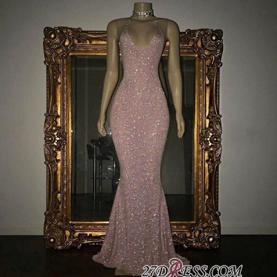 Mermaid Stunning Spaghetti-strap Sequined Sleeveless Long Prom Dress SP0311_1