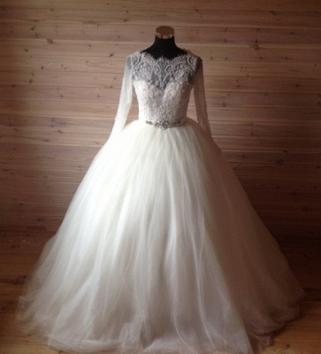 Elegant Tulle Lace Crystals Wedding Dress 2020 Ball Gown Long Sleeve_5