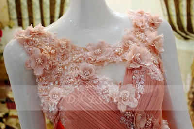 Flower Prom Dresses Evening Gowns with Pink Pearls Appliques Chiffon Lace Sleeveless Sweep Train A-line_2