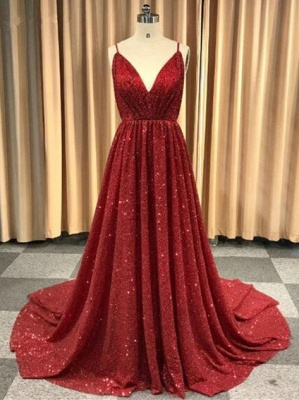 Sexy Red Sequins Prom Dresses | 2020 V-Neck Spaghetti Straps Long Evening Gowns BC1493_4
