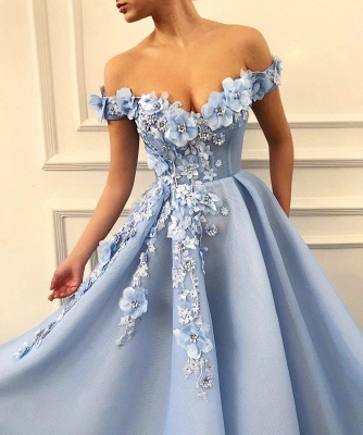 Gorgeous Off-the-Shoulder Blue Prom Dresses | 2020 Flowers Long Evening Gowns_2