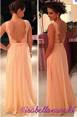 fashion long Vestido De Dama wedding party dresses 2020 peach nude back chiffon lace prom gowns_2