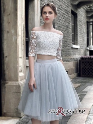 Off-the-Shoulder Sexy Knee-Length Tulle Lace Homecoming Dress_3