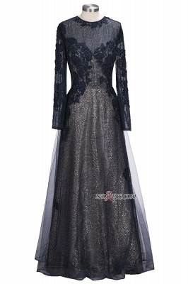 Lace-Appliques Black Long-sleeve Modern Scoop Evening Dress_6