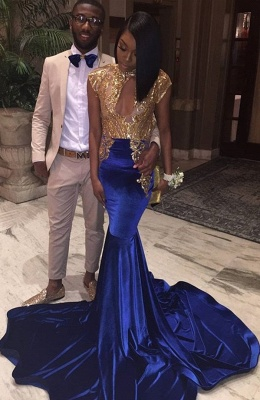 Chic High Neck Sleeveless Gold Sequin Evening Gown | Mermaid Cap Sleeve Prom Dress On Sale_2