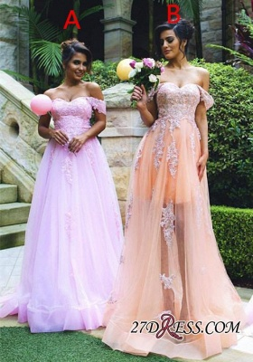 Lace Off-the-shoulder Gorgeous Appliques Tulle Prom Dress_2