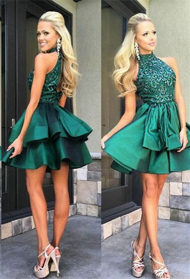 Gorgeous Green Sleeveless Short Prom Dress 2020 Beadings Mini Homecoming Gown HT102_2