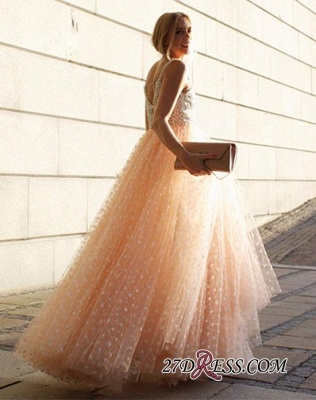 Elegant Straps Sleeveless 2020 Evening Dress Long Tulle Party Dress With Appliques_1